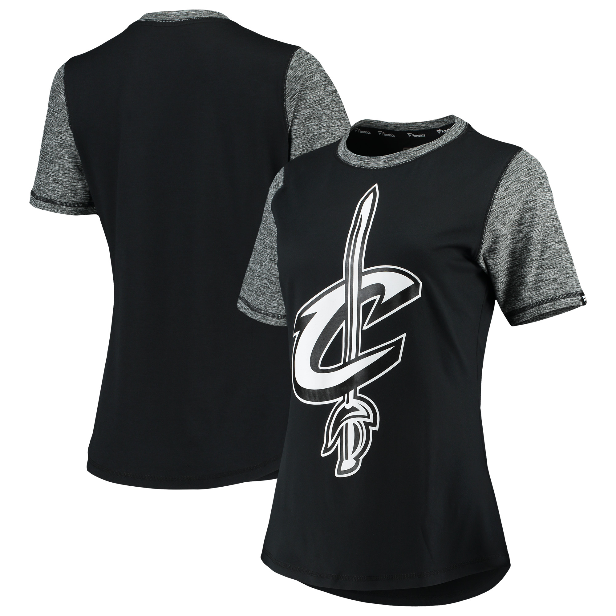 Cleveland Cavaliers Fanatics Branded Women's Made to Move Static Performance T-Shirt - Black/Heathered Charcoal