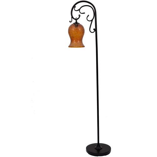 JIMCO LAMP CO. 64 Textured Bronze Finish Downbridge K / D Floor Lamp, Amber Glass Globe