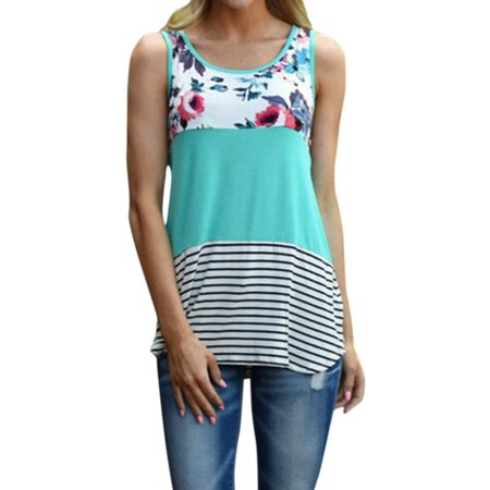 Nlife Women's Round Neck Sleeveless Lace Stripe Floral Print Splice Top
