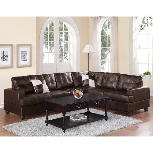 poundex bobkona karen right hand facing sectional