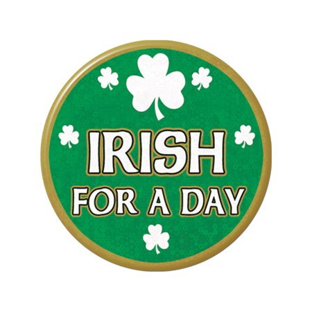 Irish For A Day Lazer Etched Jumbo Button Costume Accessory (Traditional Irish Costume)