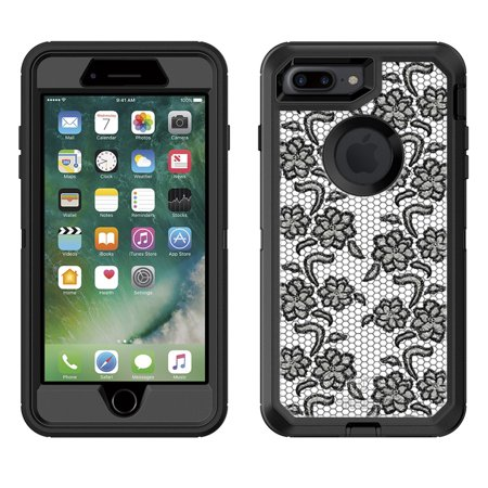 SKIN DECAL FOR Otterbox Defender Apple iPhone 7 Plus Case - Flirty Black Flower Lace DECAL, NOT A CASE