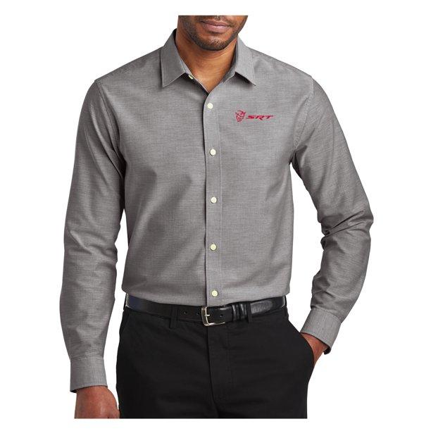 Mens Dodge Demon SRT Logo Long Sleeve Dress Shirt - Black, Extra Small