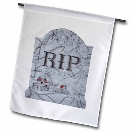 3dRose Halloween RIP Headstone with Skulls - Garden Flag, 12 by 18-inch - Halloween Headstones Epitaphs