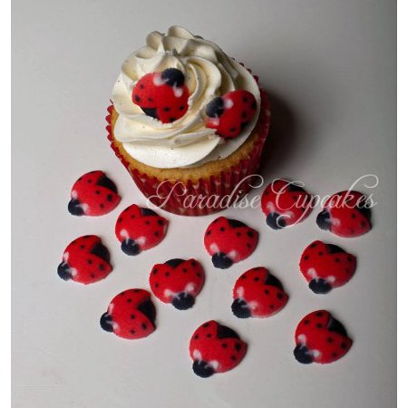Edible Sugar Flowers - Edible Sugar Lady bug Toppers - 12 Count