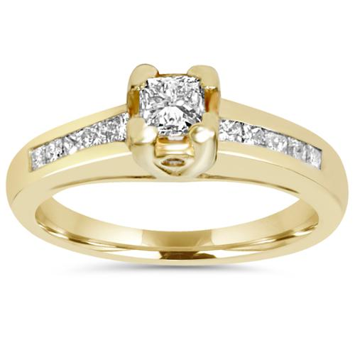 7/8ct Yellow Gold Princess Square Cut Diamond Accent 14K Gold