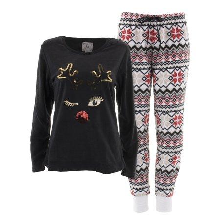 PJ Couture Women's Reindeer Black Fleece Pajamas