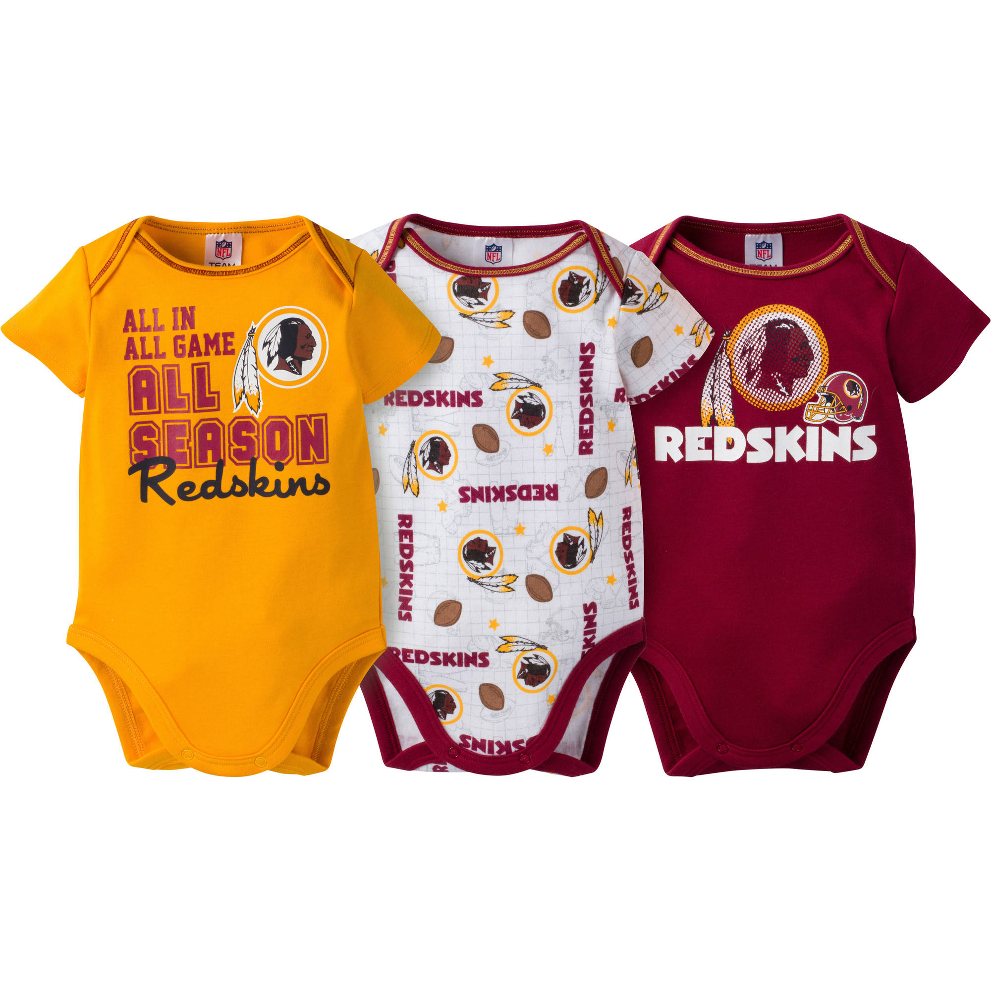 NFL Washington Redskins Baby Boys Short Sleeve Bodysuit Set, 3-Pack