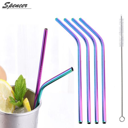 - Spencer Set of 4 Stainless Steel Bend Drinking Straws Extra Long 10.5