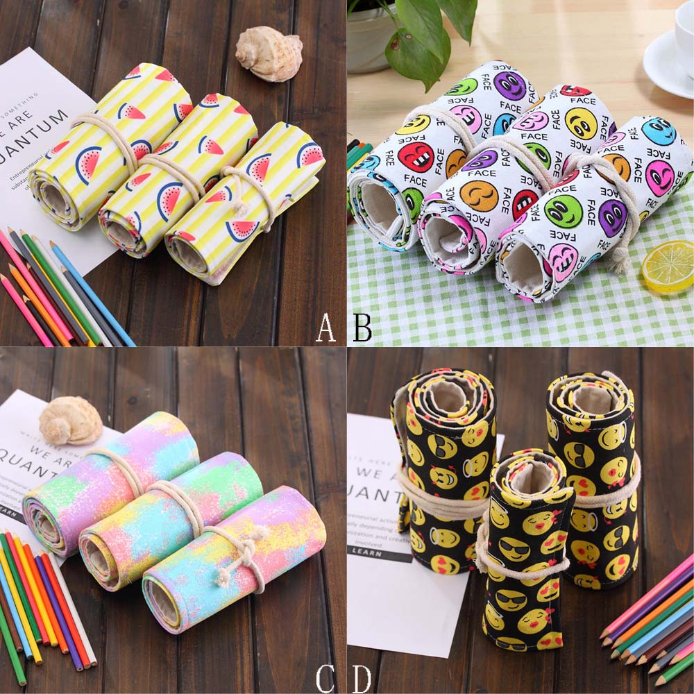 DZT1968 36 Holes Canvas Wrap Roll up Pencil Case Pen Bag Holder Storage Pouch Hot