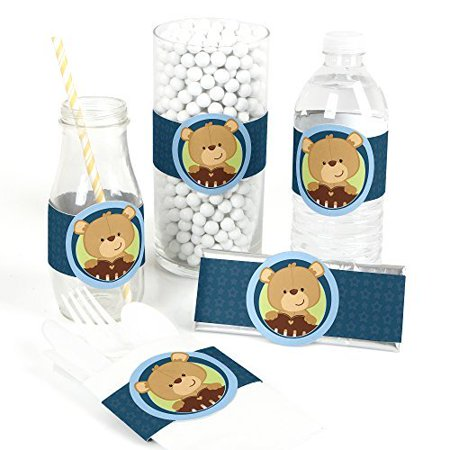 Baby Boy Teddy Bear - Baby Shower DIY Party Wrapper Favors - Set of 15
