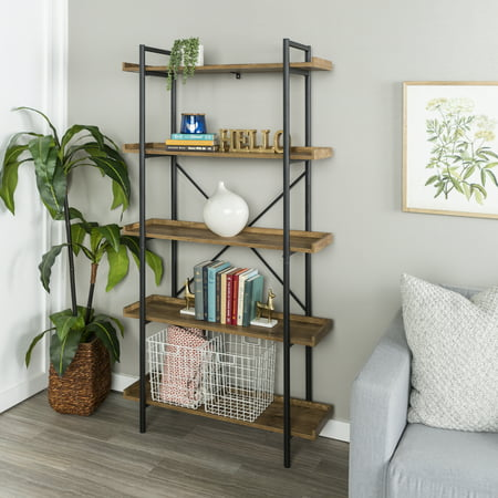 Manor Park 68 Urban Industrial 5 Shelf Mixed Material Wood And Metal Pipe Bookcase Bookshelf Barnwood