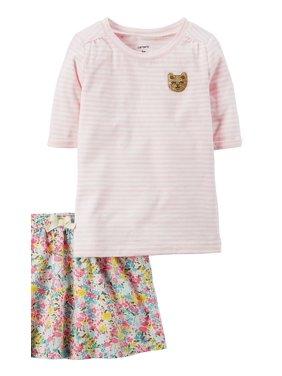 Carter's Little Girls' 2-Piece Striped Top Floral Skirt Set, 3T