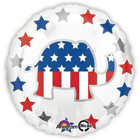 Classic Republican Elephant - Election Balloons - Republican Elephant Balloon - 18 Inch Mylar Balloon (2 Pack)