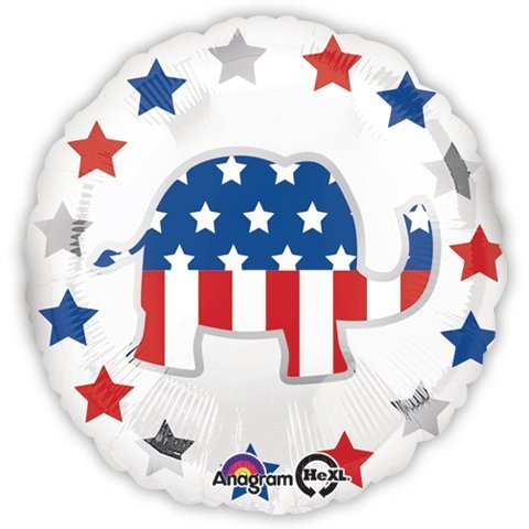 Election Balloons - Republican Elephant Balloon - 18 Inch Mylar Balloon (2 Pack)