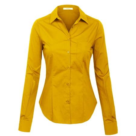 89de93642 KOGMO - KOGMO Womens Long Sleeve Button Down Shirts Office Work Blouse with  Pocket (S-3X) - Walmart.com