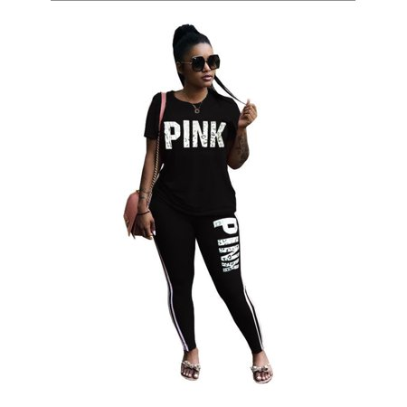 Women Tracksuit Sweatshirt Pants Sets Print Sport Loungewear Casual Suit Word Letter Print Short Sleeves T-shirt Trousers 2Pcs