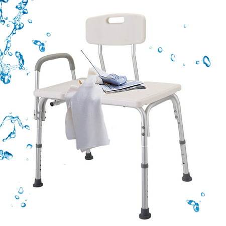Jaxpety Medical Shower Bath Seat 10 Height Adjustable Bathroom Tub Transfer Bench Chair White  W/ Back and Armrest