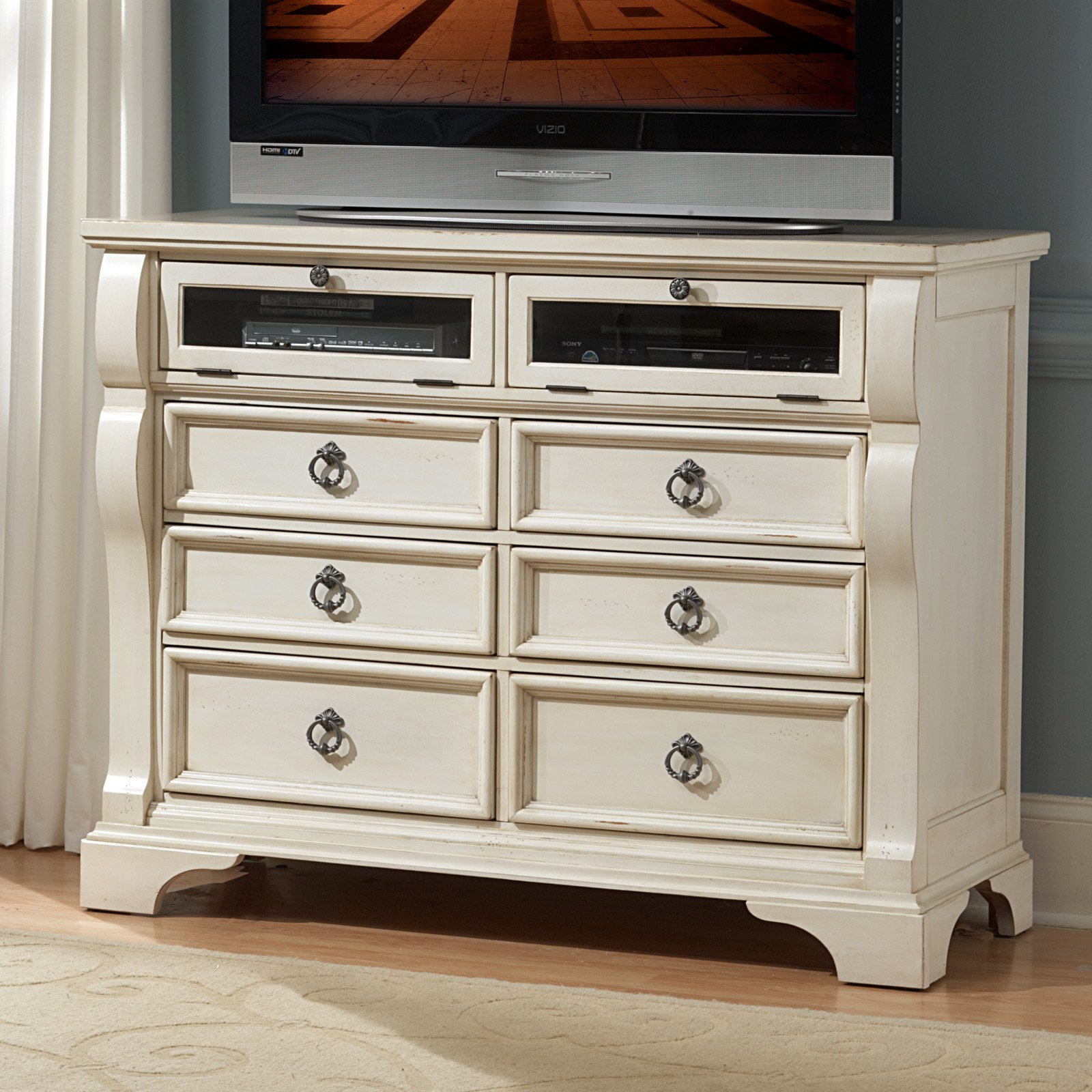 American Woodcrafters Heirloom Media Chest-Antique White