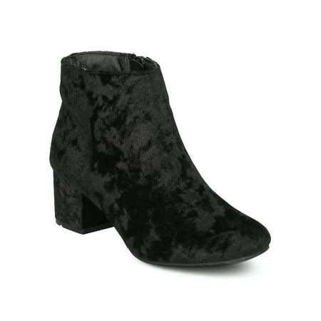 - New Women Wenona-01 Metallic Leatherette Round Toe Low Chunky Heel Bootie