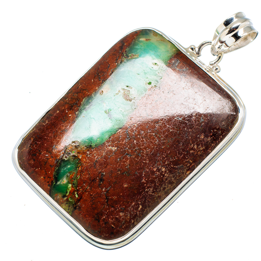 "Ana Silver Co Huge Boulder Chrysoprase Pendant 2 1 4"" (925 Sterling Silver) Handmade Jewelry PD607763 by Ana Silver Co."