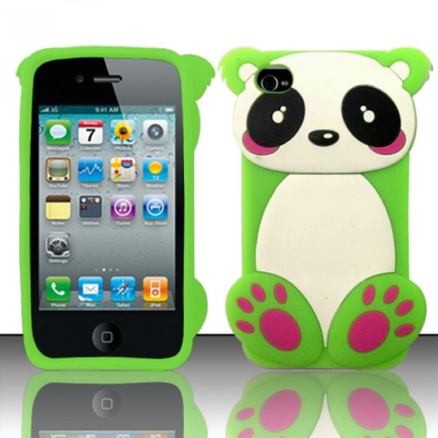 Insten Neon Green SCBPB 3D Baby Panda Bear Design Silicone Soft Skin Case Cover For Apple iPhone 4/4S