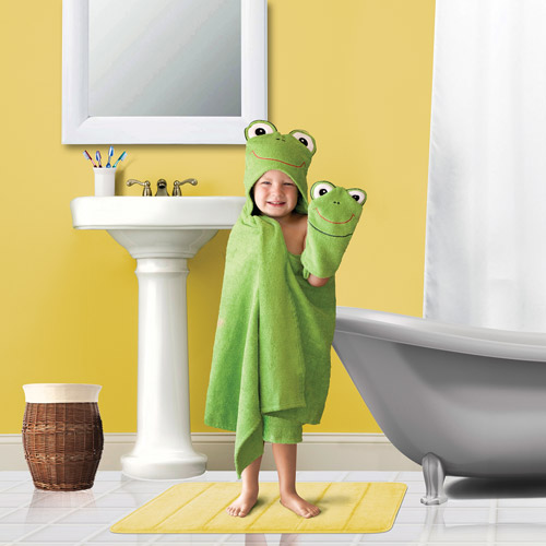 Kids' Hooded Bath Towel and Wash Mit Set