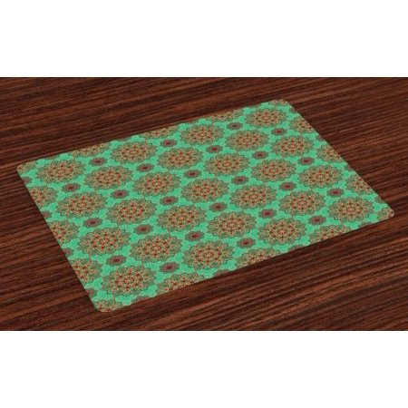 - Turquoise Placemats Set of 4 Eastern Oriental Pattern of Mandala Traditional Asian Geometric Tribal Art, Washable Fabric Place Mats for Dining Room Kitchen Table Decor,Green Red Yellow, by Ambesonne