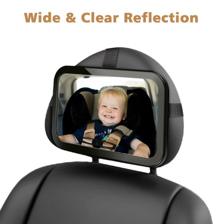 Baby Car Mirror, Audew Back Seat Baby Mirror, Safety Certified Shatter-Proof Acrylic Baby Mirror for Car, Crash Tested Clear Reflection Rearview Mirror, Wide Convex Glass - image 1 of 8