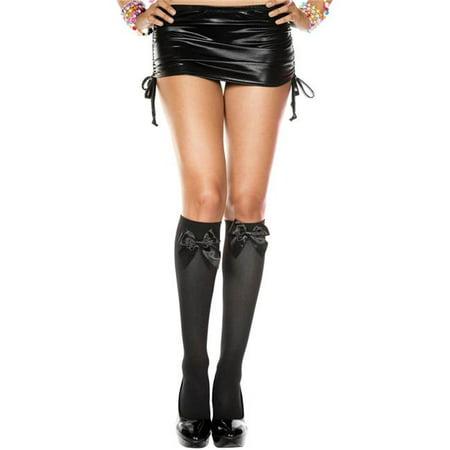 5722-BLACK-BLACK Satin Bow Knee High Socks, Black & Black