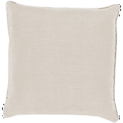 "18""   Light Tan with Ivory Piped Trim Decorative Throw Pillow- Down Filler"