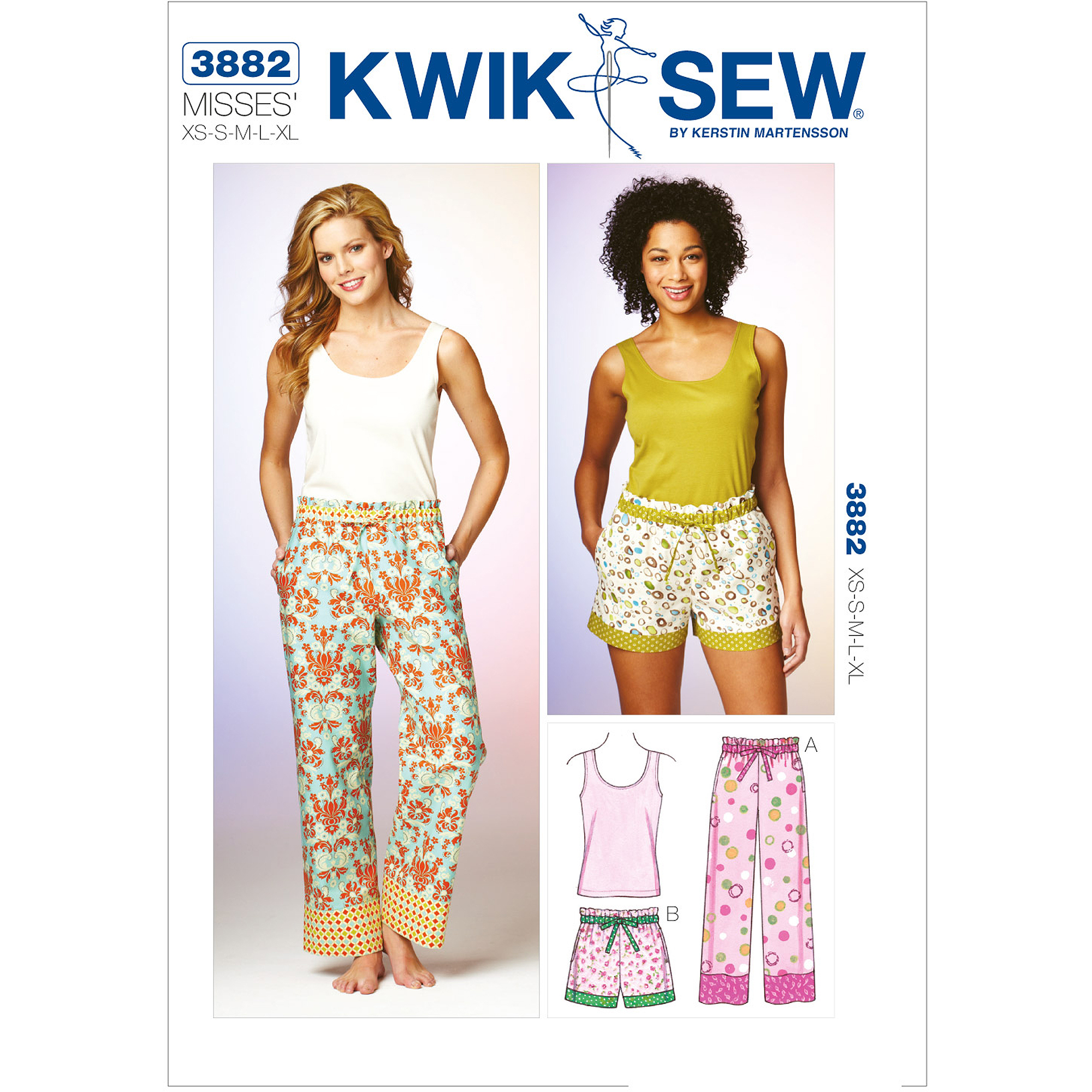 Kwik Sew Pattern Sleep Pants, Shorts and Top, (XS, S, M, L, XL)