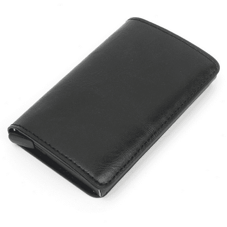 New Auto Metal Credit Card Holder Faux Leather RFID Blocking Small Wallet Money Clip