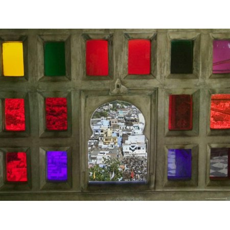 Stained Glass Window Panes in City Palace Print Wall Art By Keren Su