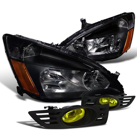 Spec D Tuning 2003 2005 Honda Accord 2 Dr Coupe Ex Lx Black Headlights Yellow Fog Light Lights Pair Left Right 2004