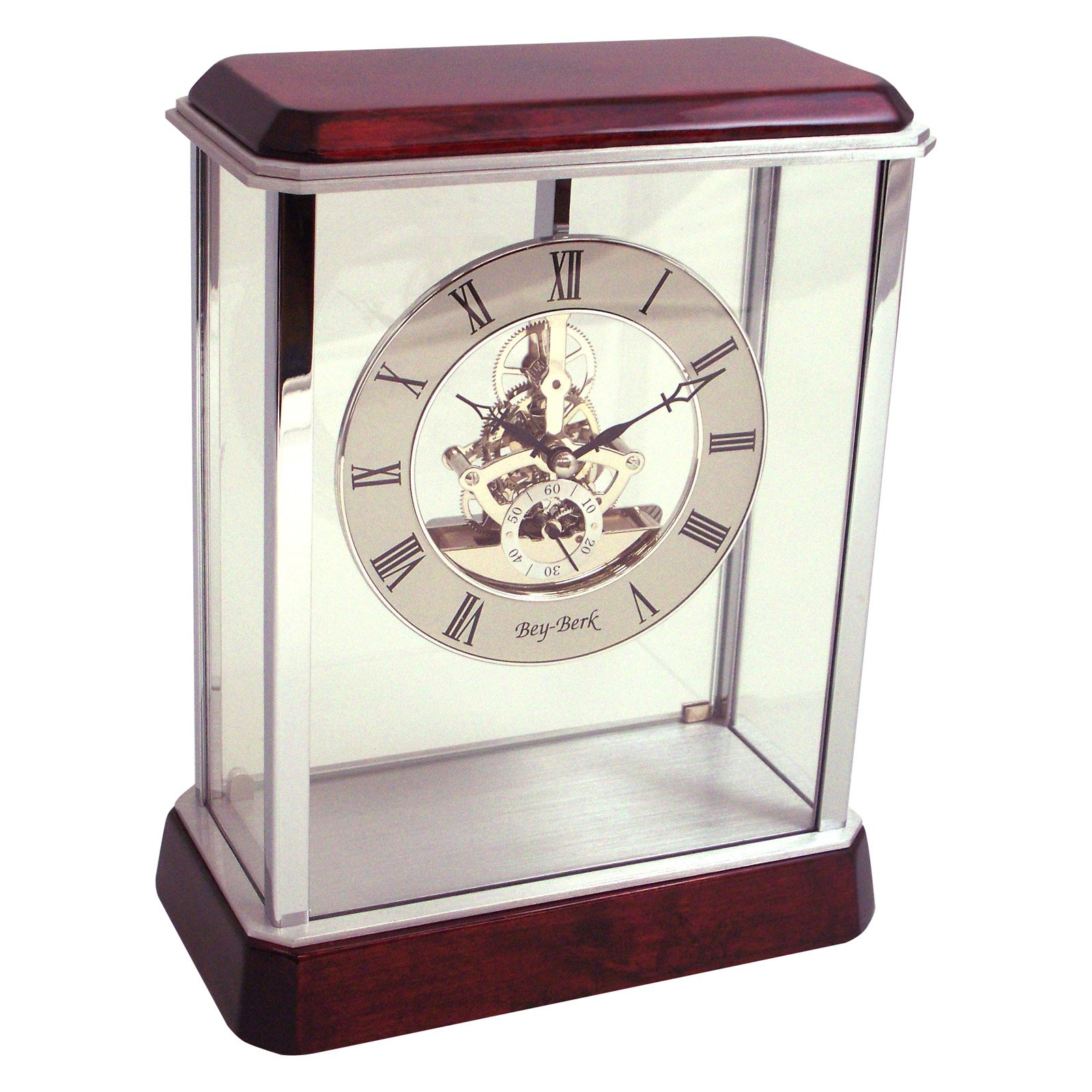 Bey-Berk International Rosewood Mantel Clock