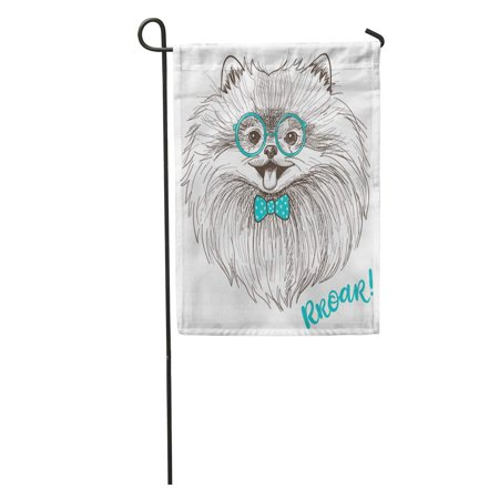 LADDKE Sweet Sketch of Cute Little Pomeranian Bow and Round Glasses Dog Smiley Face Pom Puppy Garden Flag Decorative Flag House Banner 12x18 inch - Pom Puppies