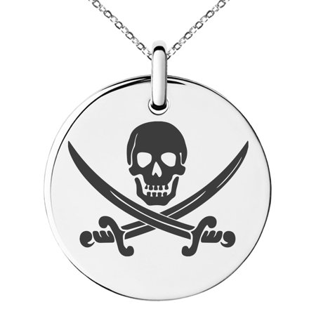 Stainless Steel Pirate Skull & Swords Engraved Small Medallion Circle Charm Pendant Necklace