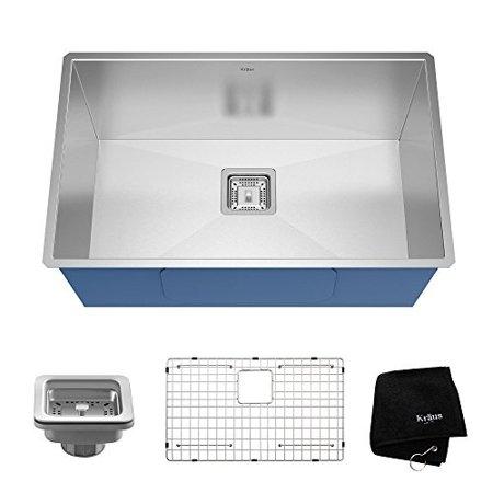 kraus pax 28 1/2-inch 16 gauge undermount single bowl stainless steel kitchen sink, khu29 (Gauge 28 Inch Stainless Steel)
