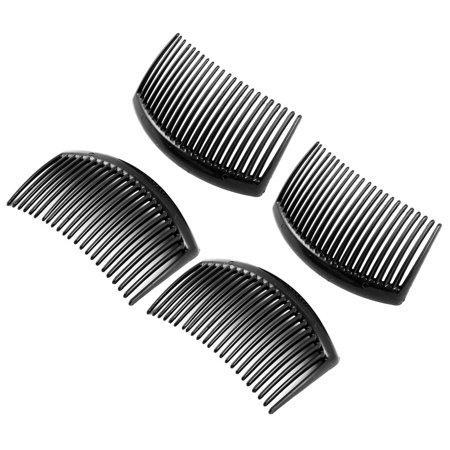 Women Plastic Manual 23 Tooth Hair Comb Clip DIY Accessories Black 4 Pcs Comb Home Office Manual
