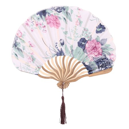 Bamboo Frame Floral Print Chinese Style Tassel Decor Hand Folding Fan Navy Blue