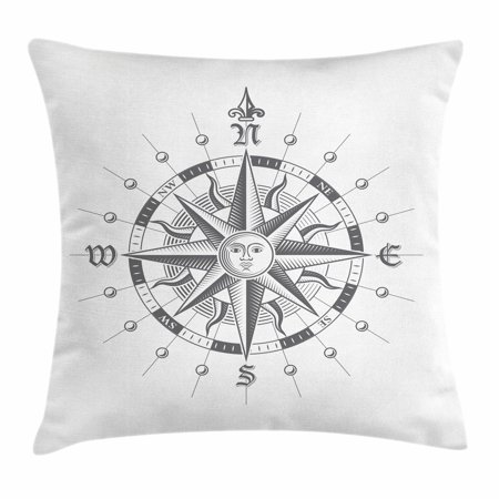 Compass Throw Pillow Cushion Cover, Hand Drawn Compass with the Face of the Sun on Directions North South East West Sailing, Decorative Square Accent Pillow Case, 20 X 20 Inches, Grey, by Ambesonne
