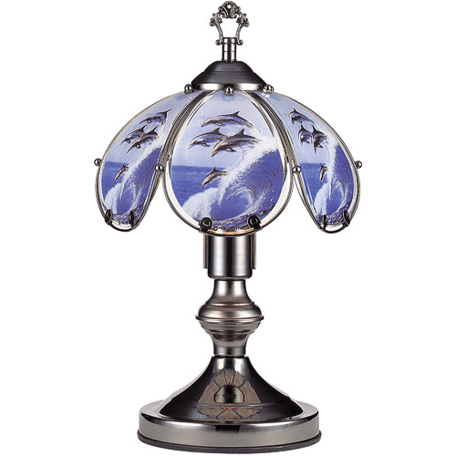 "OK Lighting 14.25"" Black Chrome Touch Lamp With Dolphin Theme"