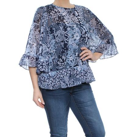 Chiffon Mix - MICHAEL KORS Womens Blue Chiffon Mixed Floral Bell Sleeve Jewel Neck Top  Size: L