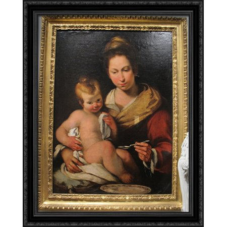 Madonna Della Pappa 28X34 Large Black Ornate Wood Framed Canvas Art By Bernardo Strozzi