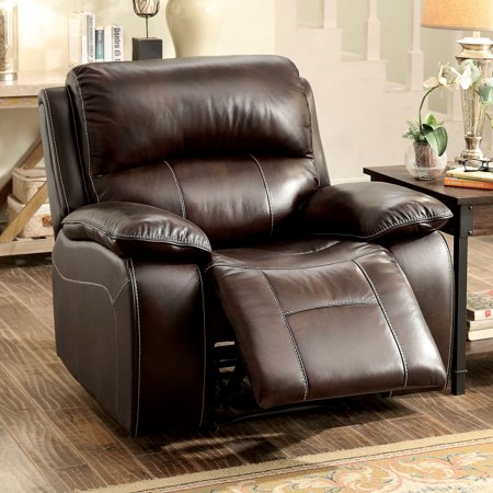 Brown Leather Match Chair (Furniture of America  Jerrison Plush Brown Leather Match Rocker)