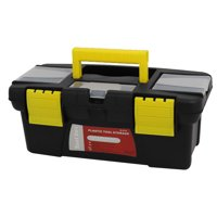 Unique Bargains Gray Yellow Plastic 2 Layers Multipurpose Hardware Tool Box 250mmx120mmx100mm