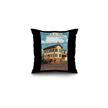 Lincoln Home National Historic Site   Springfield  Illinois   Lantern Press Poster  16X16 Spun Polyester Pillow  Black Border