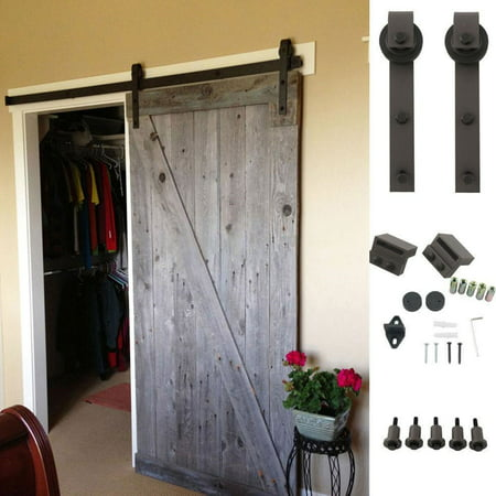 Ainfox 6 6ft Antique Style Sliding Barn Wood Door Hardware Rustic Roller Track Kit