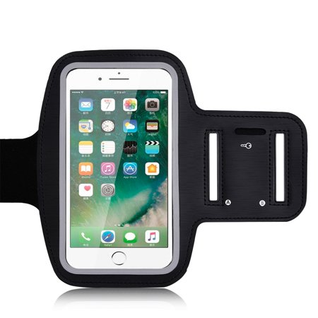 Ultra Slim Adjustable Sports Armband With Touch Screen Protector and Key Holder for iPhone 7 Plus, iPhone 6s Plus, iPhone 6 Plus - Safety Reflectors, Sweat Resistance, Fit Arm Size 9 - 18.5